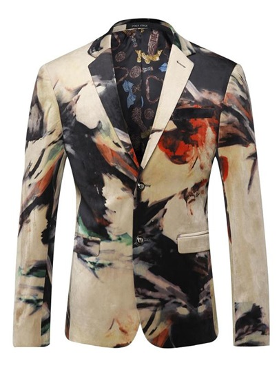 Unique Pattern Lapel Men's Slim Fit Blazer