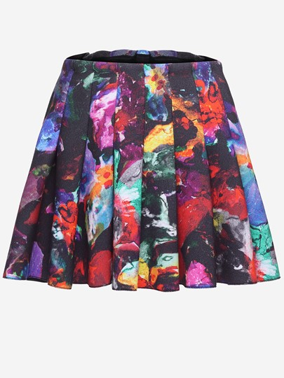 Print Soft Slim Pleated Skirt