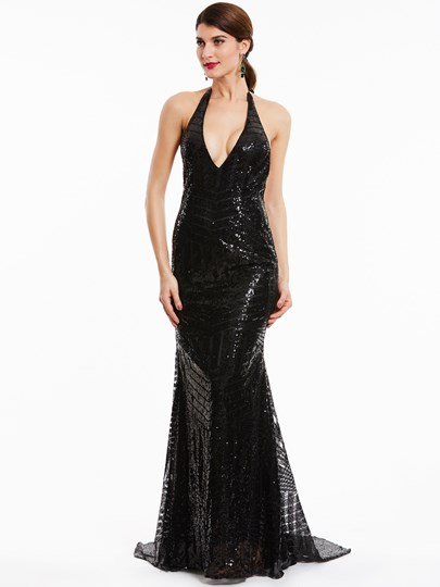 Halter Neck Backless Sequins Mermaid Evening Dress