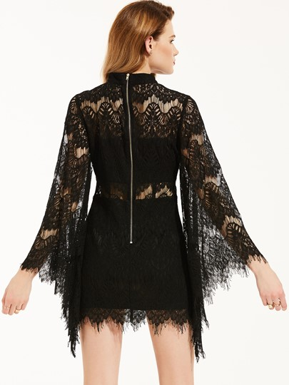Bell Sleeve Hollow See-Through Women's Lace Dress