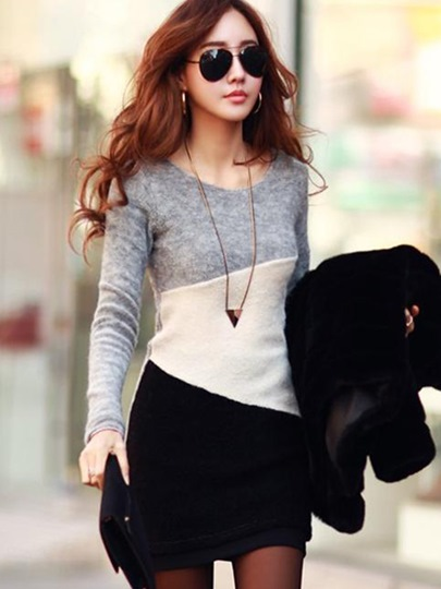Long Sleeve Round Neck Mohair Knitted Womens Sheath Dress