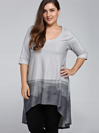 Gradient Color Loose High Low Women's Blouse