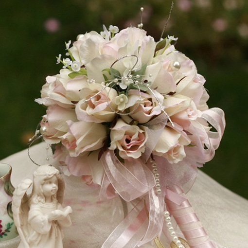 Small Light Rose Silk Cloth Wedding Birdal Bouquet
