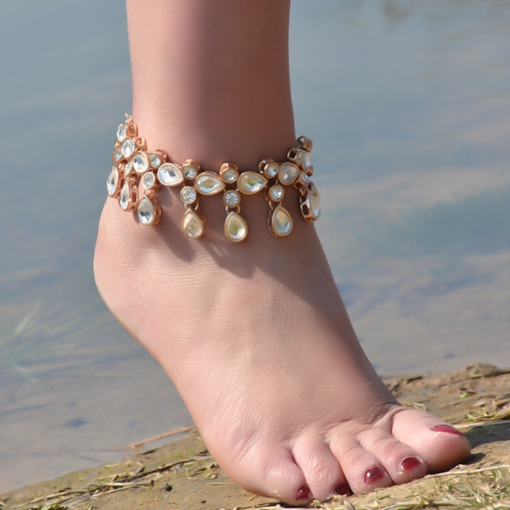 Alloy Diamante Water Droplets Tassels Anklet
