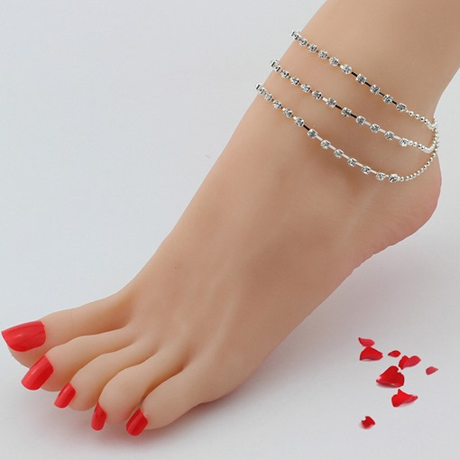 Bell Design Multilayer Rhinestone Tassels Anklet