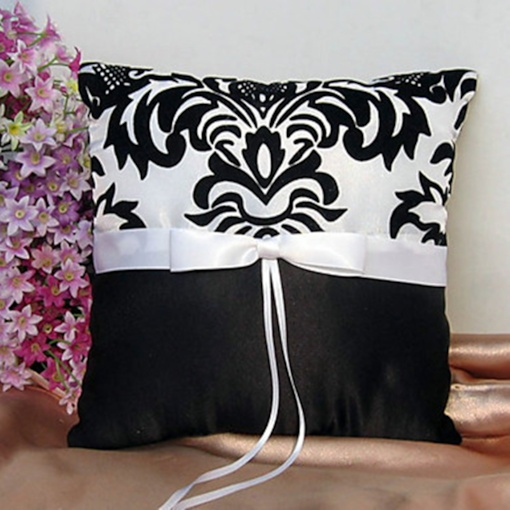 Damask Ring Pillow In Satin With Sash And Ribbons