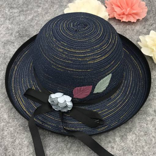Leaf & Flower Decorated Roll Brim Sunscreen Straw Hat