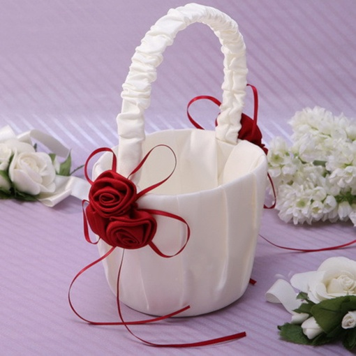 Red Flower Basket in Satin
