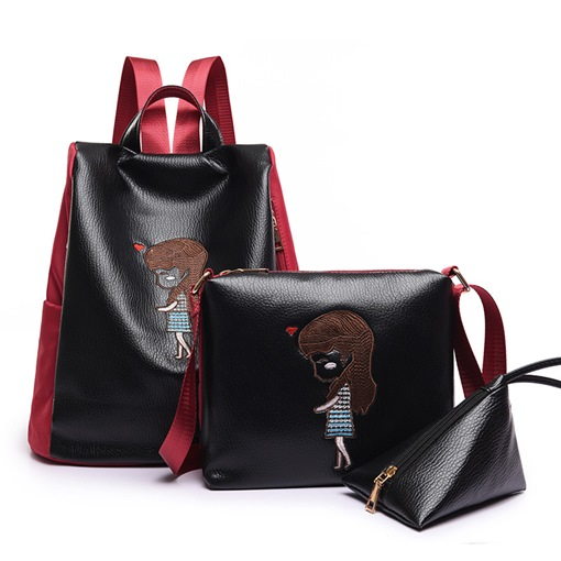 Waterproof Cartoon Pattern Embroidery Nylon Bag Sets