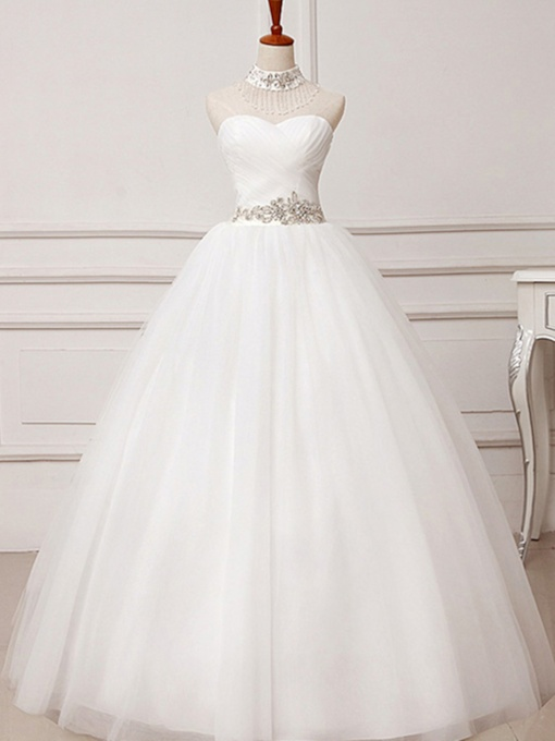 Ruched Beaded Ball Gown Wedding Dress