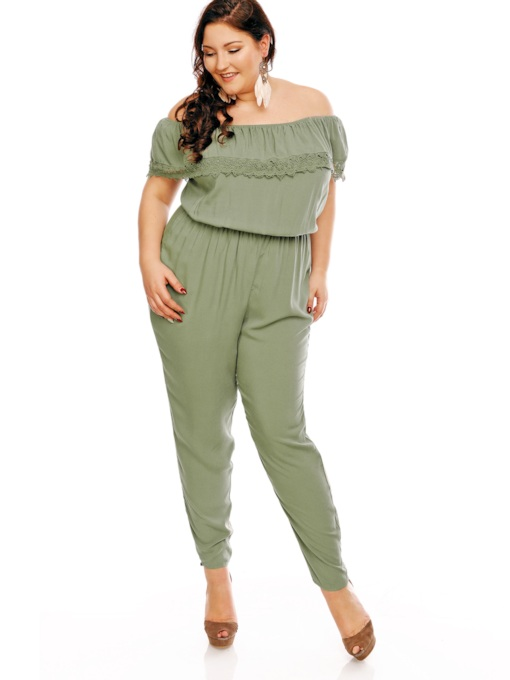 Plus Size Grass Green Lace Off Shoulder Women's Jumpsuit