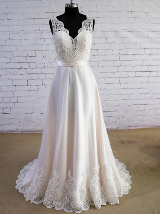 V-Neck Appliques Beach Wedding Dress