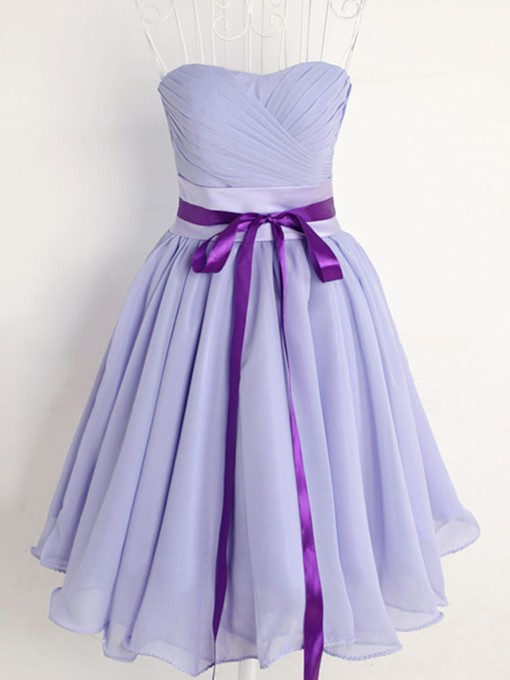 A-Line Sweetheart Ribbon Pleats Short Bridesmaid Dress