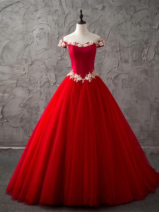 Off-the-Shoulder Beading 3D Flowers Red Quinceanera Dress