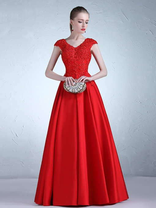 A-Line Cap Sleeves Appliques V-Neck Evening Dress