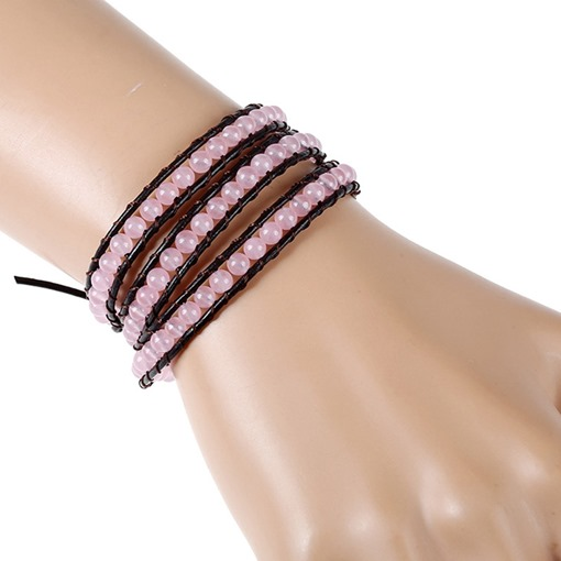 Multilayer Artificial Leather Rope Ethnic Style Beaded Bracelet