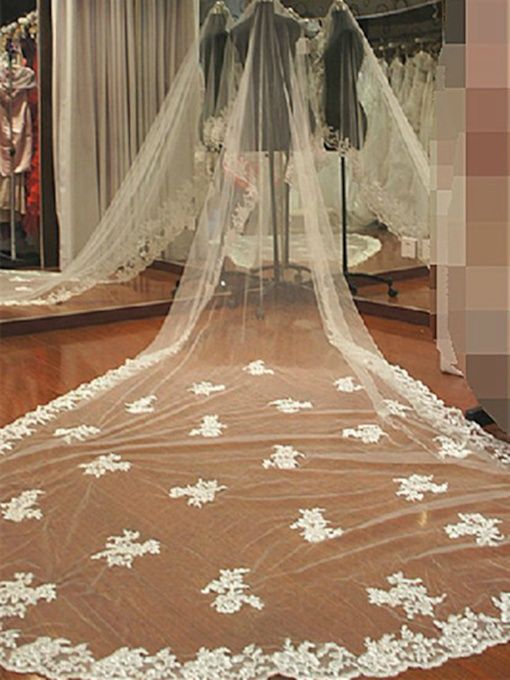 Cathedral Length White Lace Wedding Veil (Without Tuck Comb)