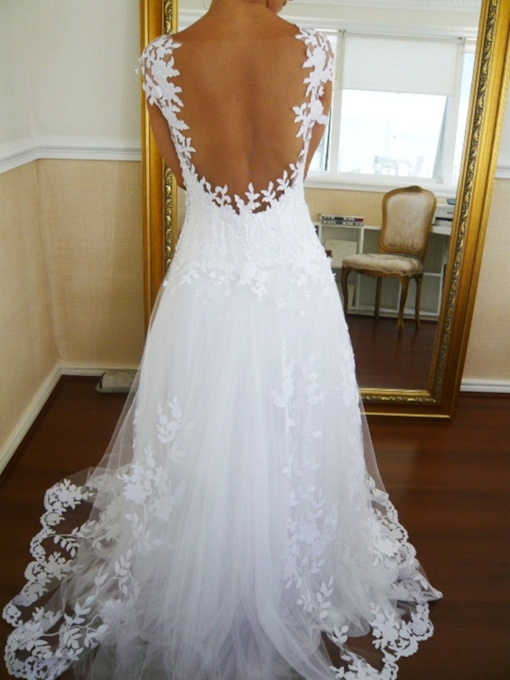 Sheer Back Cap Sleeve Appliques Beach Wedding Dress
