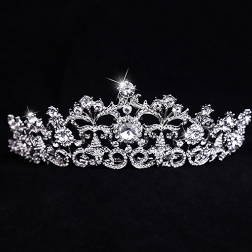 Celebrity Alloy with Silver Rhinestone Wedding Bridal Tiaras
