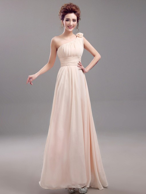 One Shoulder Flower Pleats Chiffon Bridesmaid Dress