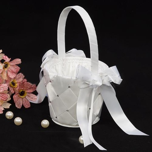 Flower Basket in Satin With Rhinestones & Ribbons