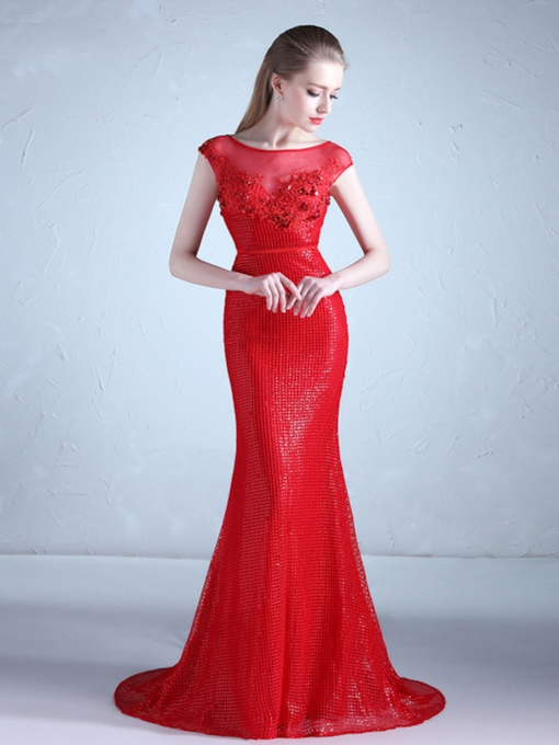 Mermaid Scoop Appliques Beadings Cap Sleeves Evening Dress