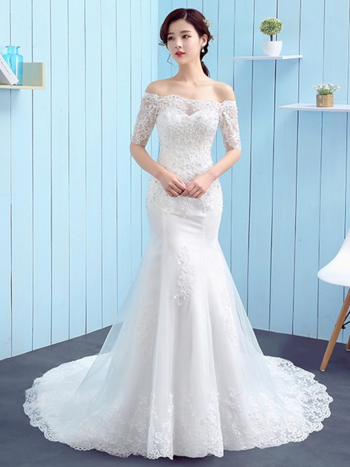 Off the Shoulder Appliques Wedding Dress with Half Sleeve