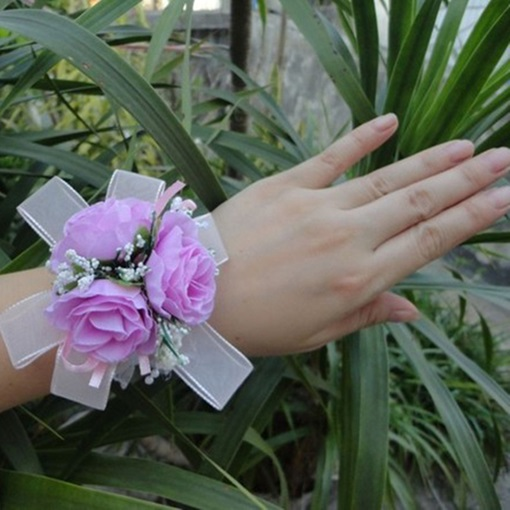 Pearls Purple Cloth Flowers Wedding/Bridal Wrist Corsage