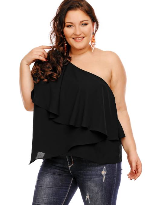 One Shoulder Plus Size Layered Women's Blouse
