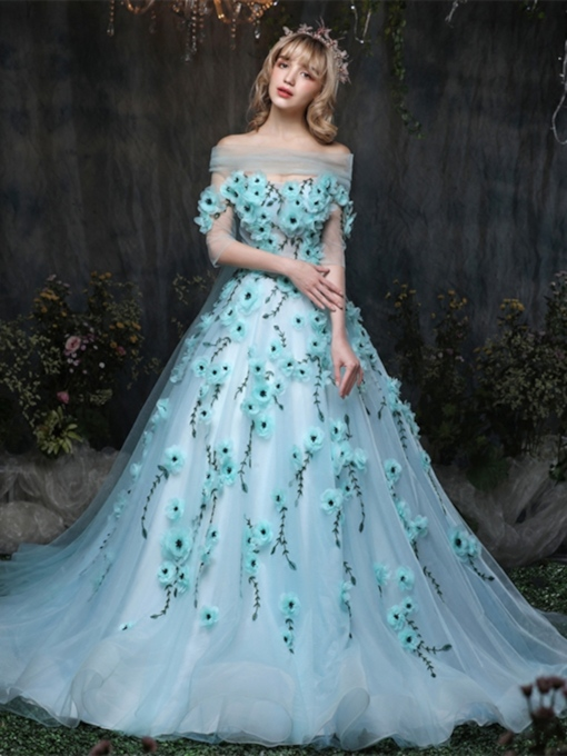 Off-the-Shoulder Beading Ball Gown Flowers Half Sleeves Quinceanera Dress