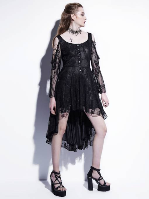 Cold Shoulder Single-Breasted Women's Lace Dress