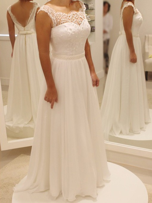 Lace Beading Chiffon Beach Wedding Dress