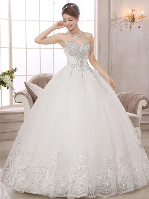 Sweetheart Beading Appliques Ball Gown Wedding Dress
