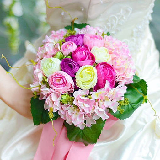 Sphere Shaped Pink Cloth Wedding Bridal Bouquet with Pink Ribbon