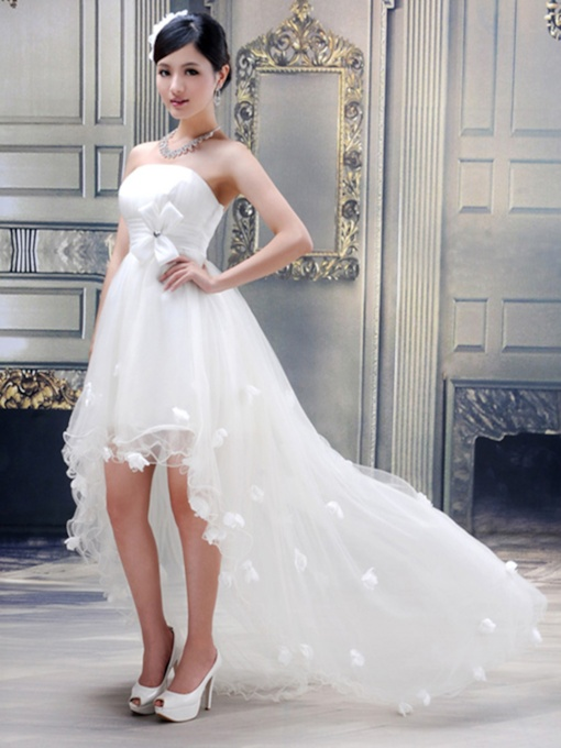 Ball Gown Strapless Flowers High-low Wedding Dress