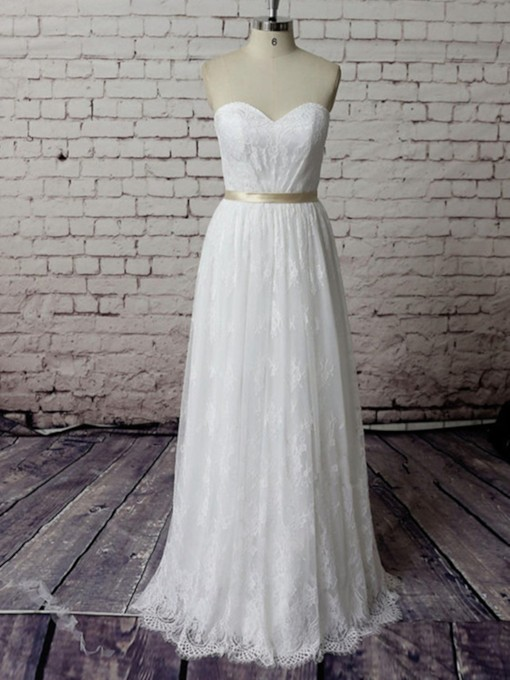 Sweetheart A-Line Lace Beach Wedding Dress