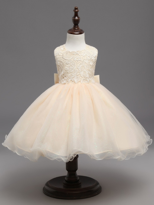Scoop Neck Lace Bowknot Tulle Flower Girl Dress