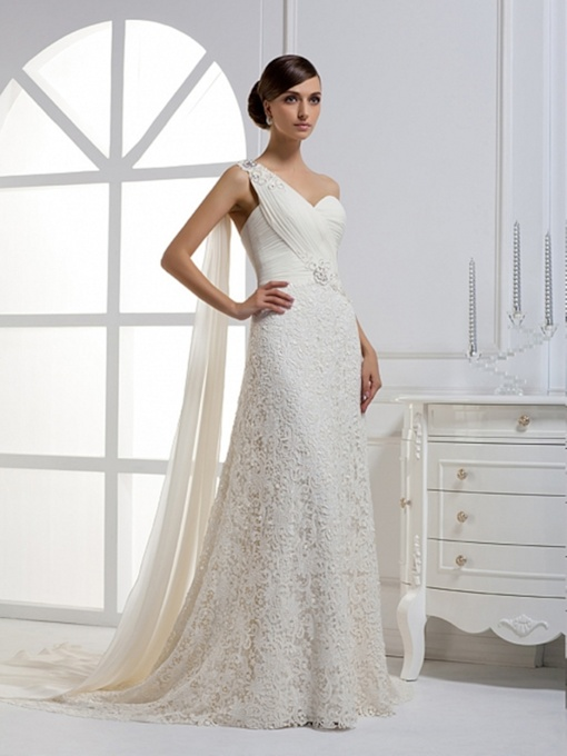 A-Line One-Shoulder Watteau Train Wedding Dress