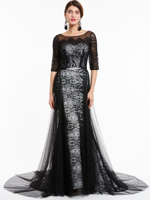 Bateau Neck Half Sleeves Lace Evening Dress