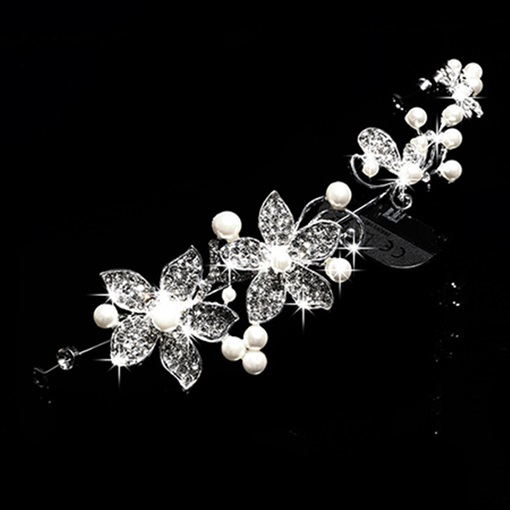 Flower Shaped Alloy with Rhinestone Pearls Wedding Bridal Tiara