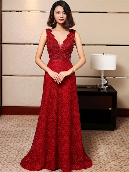 A-Line Appliques V-Neck Beading Lace Sashes Floor-Length Evening Dress