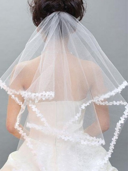 Elbow Applique Edge Wedding Veil