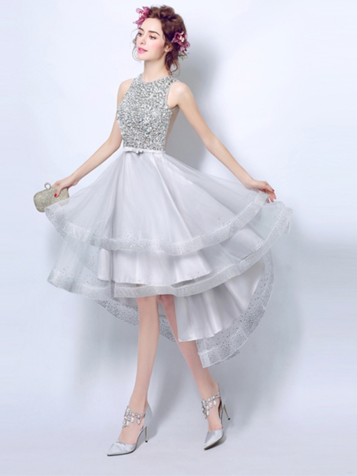 Beaded Sashes Scoop Rhinestone Sashes A-Line Asymmetry Prom Dress