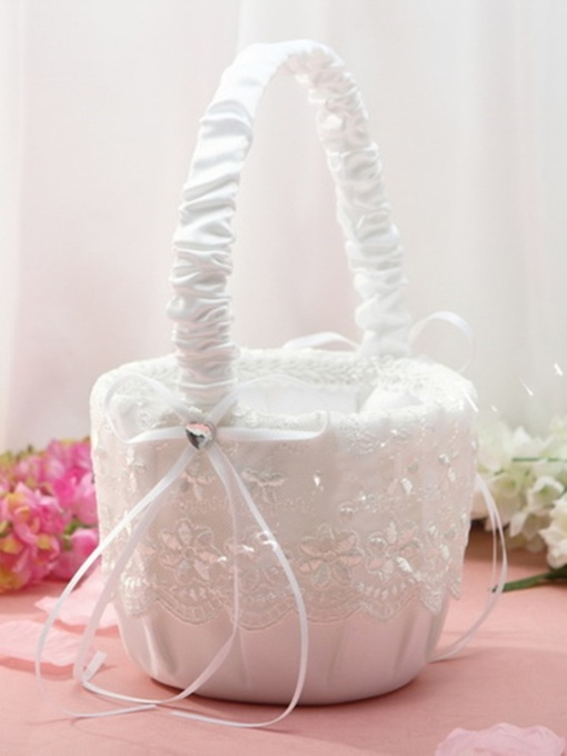 Flower Basket in Satin & Lace With Rhinestones
