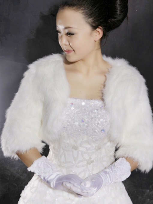 Pure Faux Fur Half-sleeve Wedding Jacket/Wrap/shawl (More Colors)