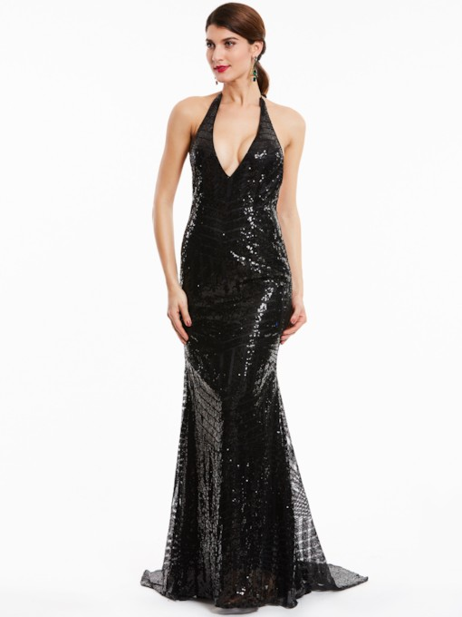 Halter Neck Backless sequins robe de soirée sirène