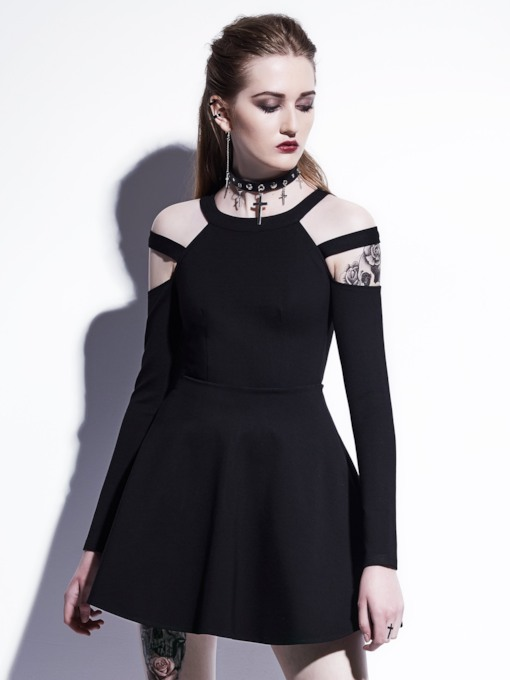 Black Long Sleeve Cross Shoulder Women's Day Dress