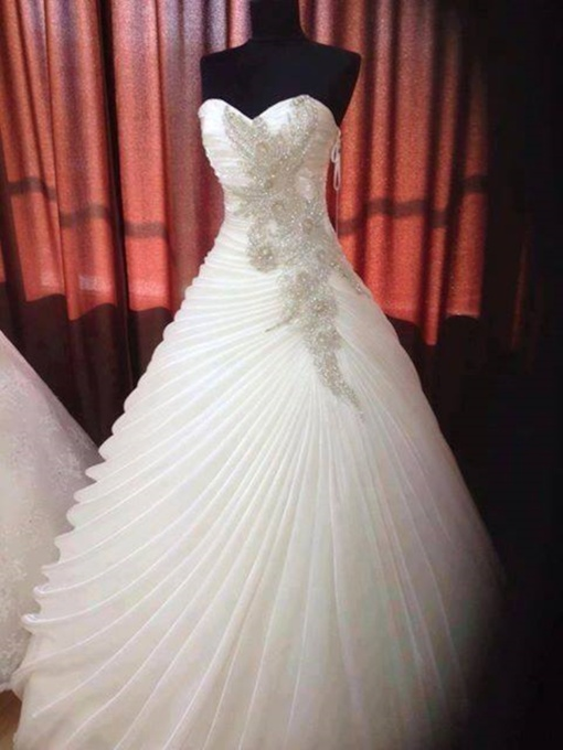 Beaded Sweetheart Ruffles Organza Wedding Dress