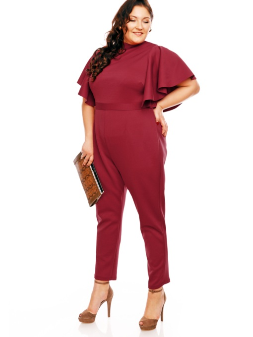 Plus Size Plain Falbala Ankle Length Patchwork Women's Jumpsuit