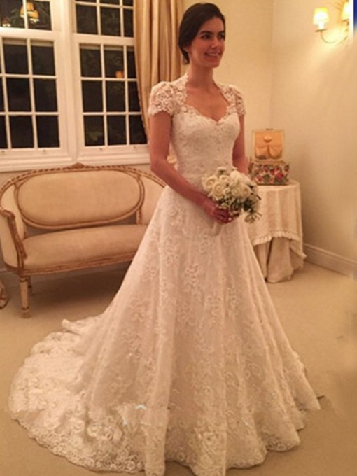 Buttoned Cap Sleeve Lace Wedding Dress